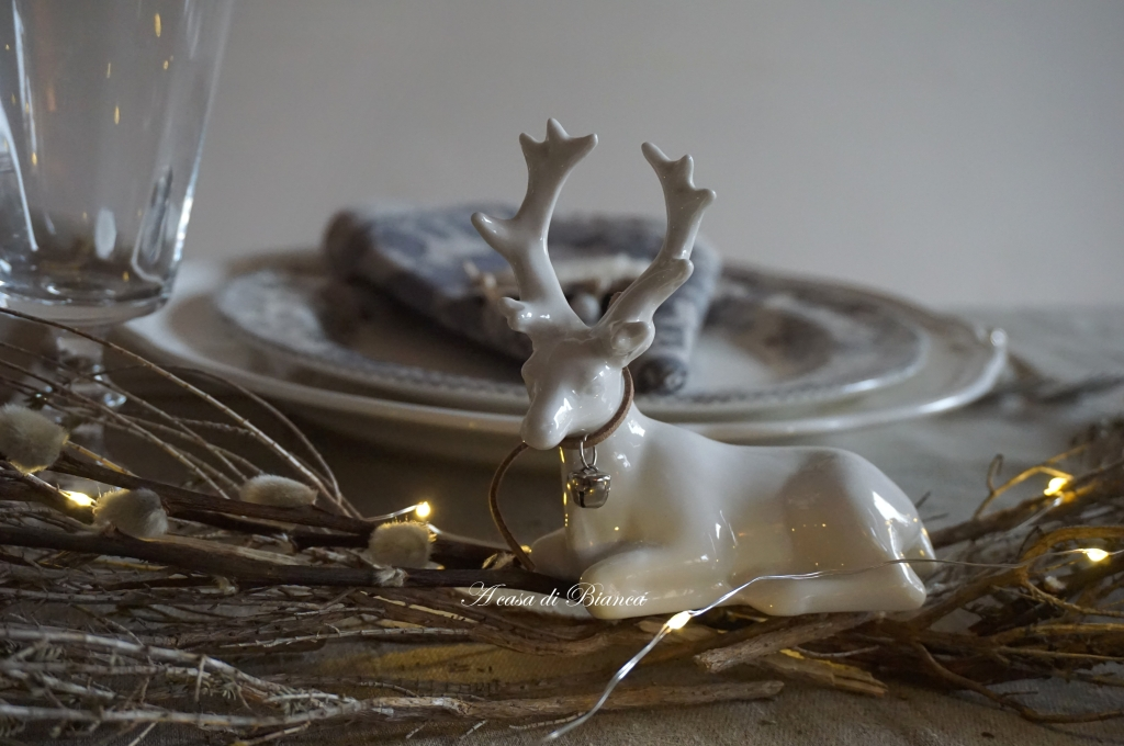 home, home decor, tablescaping, scandi, nordic style tablescape, Zara Home, a casa di Bianca, mise en place, deer figurine, centerpiece, winter centerpiece