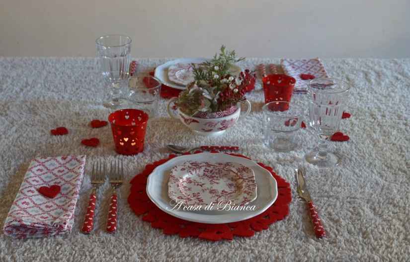 tavola di san valentino, a casa di Bianca
