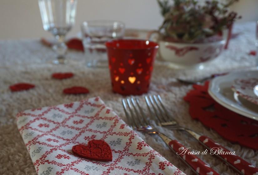 tavola di san Valentino a casa di Bianca