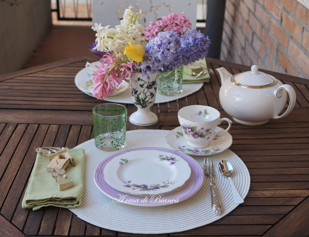 Afternoon tea with vintage floral teacup