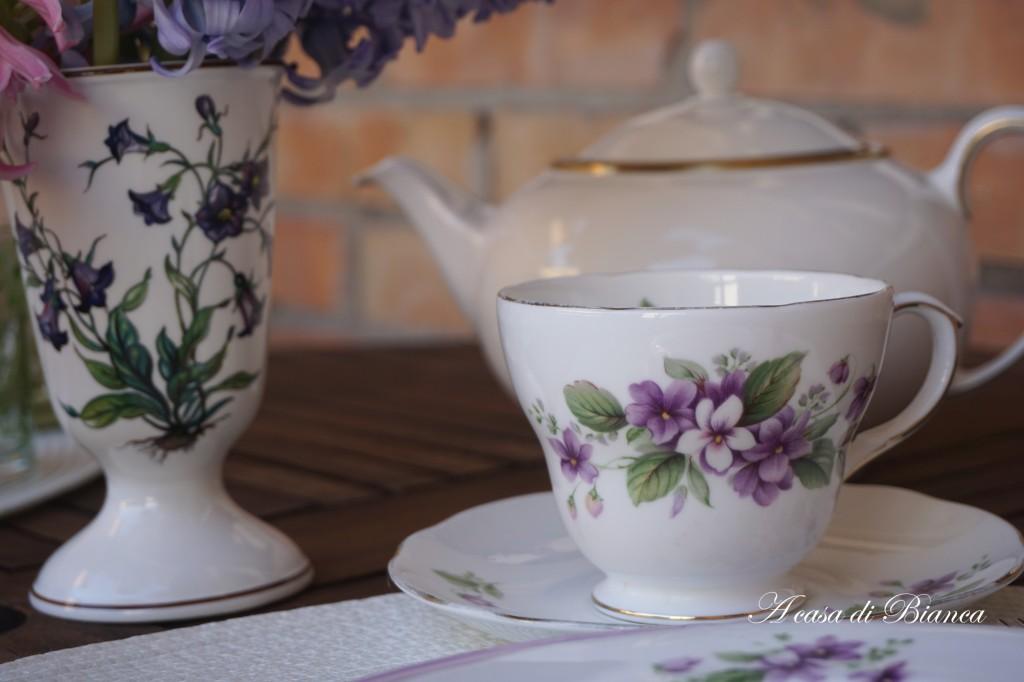 Violet vintage teacup