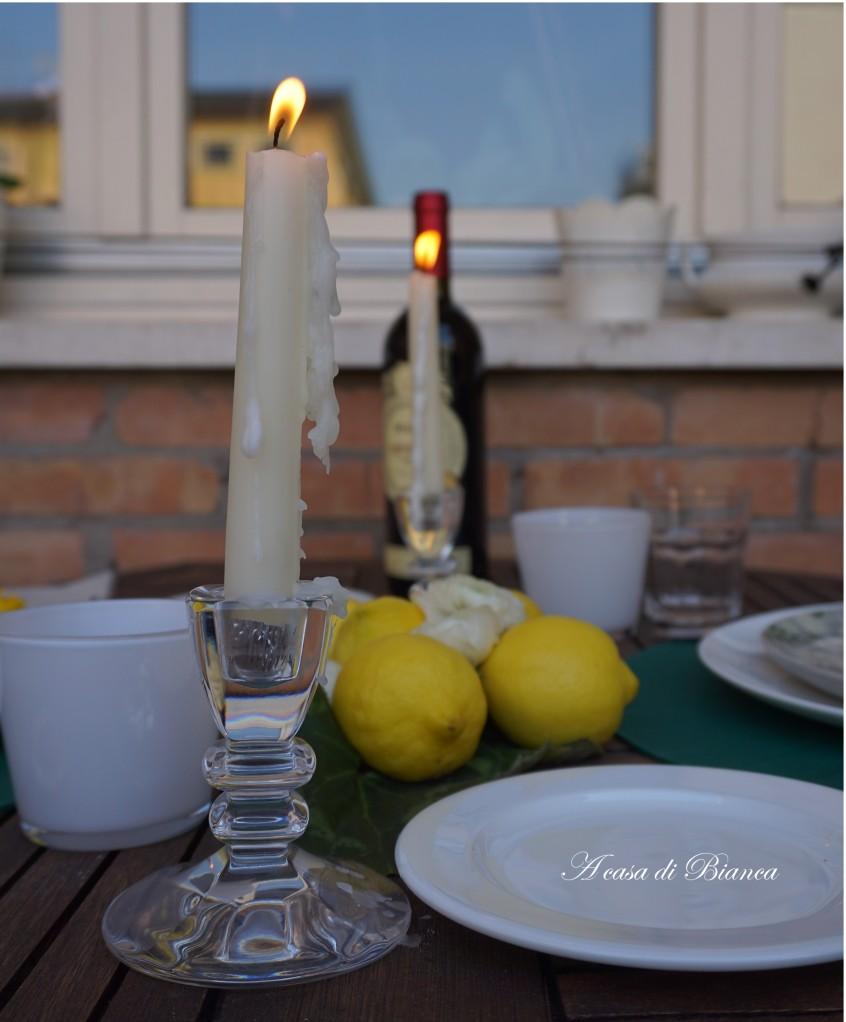 Candele tavola romantica a casa di Bianca