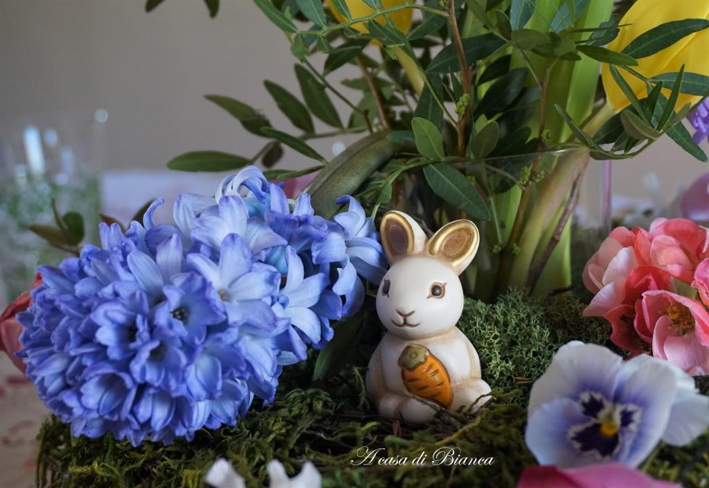 Centrotavola pasquale coniglietto Thun a casa di Bianca