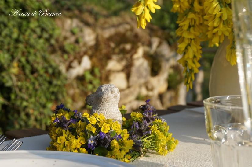 Ghirlanda segnaposto Alfresco dining al tramonto a casa di Bianca