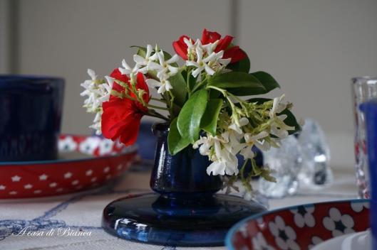 Tavola in bianco rosso e blu a casa di Bianca