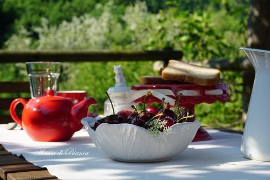 Ciliegie colazione in giardino a casa di Bianca