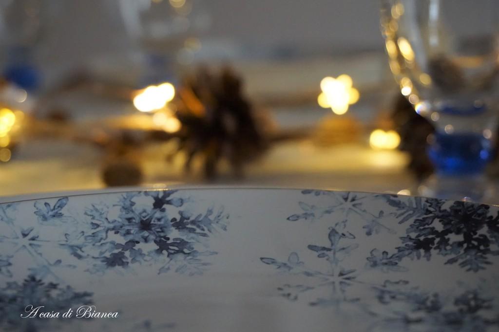 Tavola di Natale fiocchi di neve a casa di Bianca