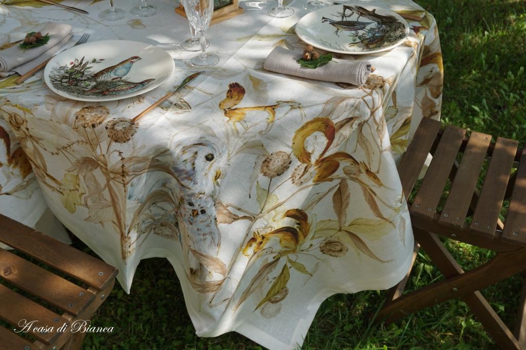 Tovaglia con scoiattoli tessitura toscana telerie
